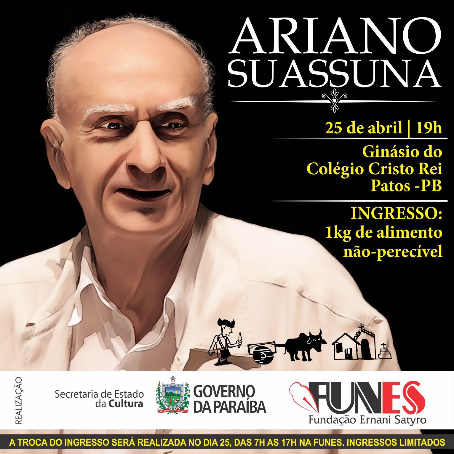 """FUNES Promove Abril Cultural com o """"Três da Matina"""" e  Ariano Suassuna"""