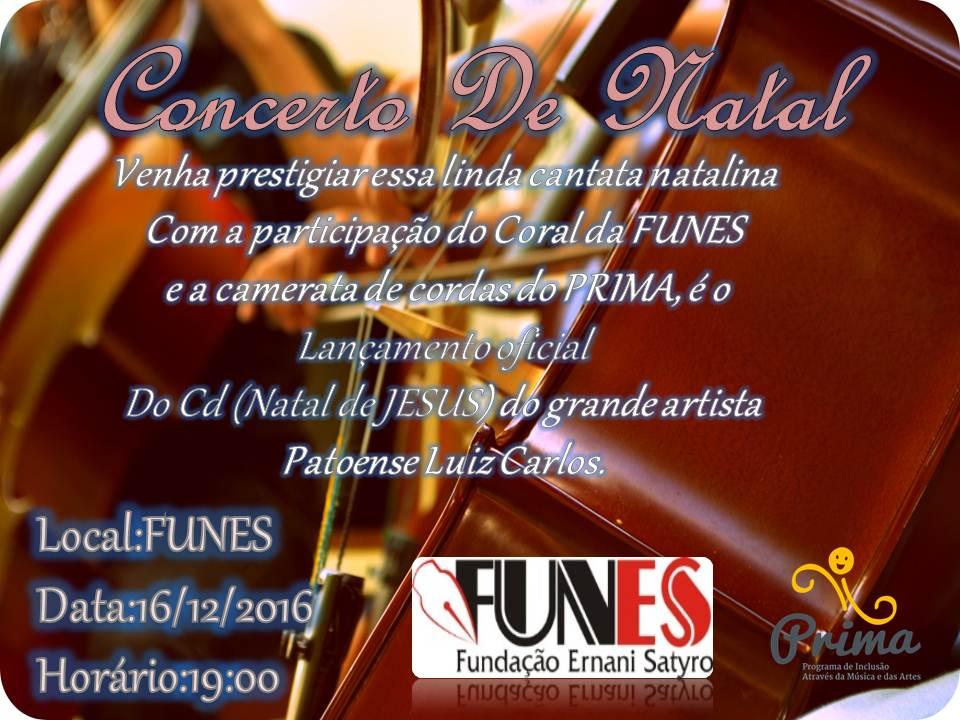 Funes Promove Concerto de Natal.